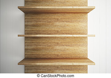 Wooden shelves on wood wall background