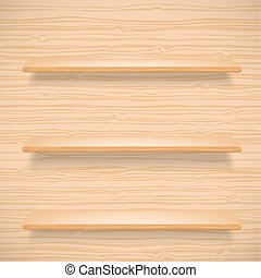 wooden shelves on wooden background