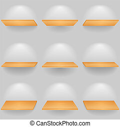 Wooden shelves - Set of wooden shelves, vector eps10...