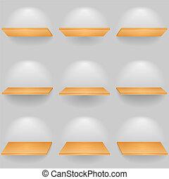 Set of wooden shelves, vector eps10 illustration