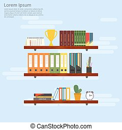 Wooden shelves with books and folders. Office interior in flat design. Vector illustration.