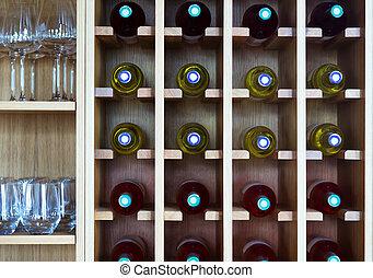 shelves with wine bottles