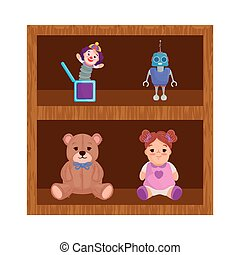 wooden shelving and toys child