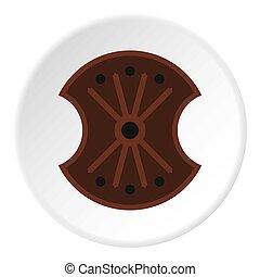 Wooden shield icon circle