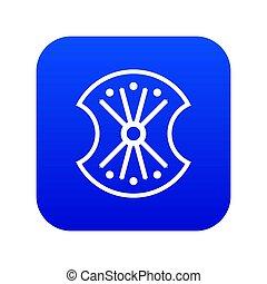 Wooden shield icon digital blue