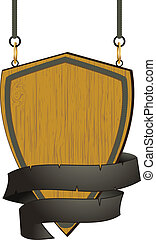 wooden shield sign with rope detail