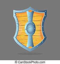 Wooden shield with metal frame and oval middle in the center.