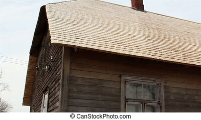 Wooden shingles from a cabin house