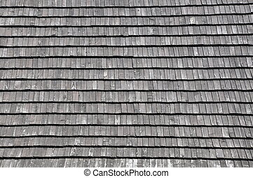 Wooden shingles on the roof