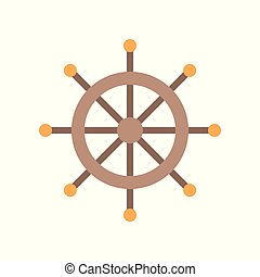 Wooden ship helm icon, flat design vector