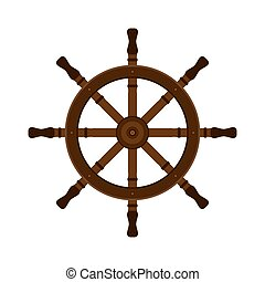 Wooden ship helm in flat vector style. For yacht clubs, sailboat