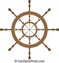 Wooden ship helm isolated on white background. Vector illustration