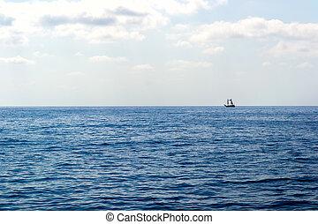 Wooden ship in the Mediterranean sea, Turkey