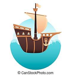 Wooden ship in the ocean
