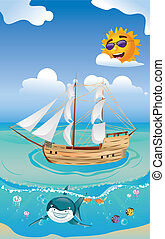 Wooden Ship in the Sea