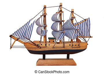 Wooden ship, toy model.