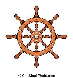 Wooden Ship Wheel on White Background. Vector