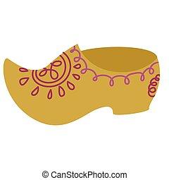 Wooden shoe flat color illustration on white