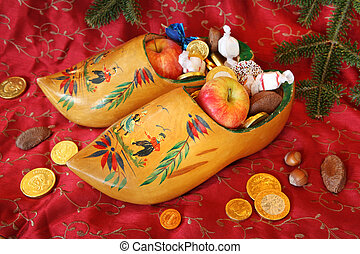 Wooden Shoes for St Nicholas Day - Wooden shoes filled with ...