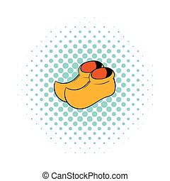 Wooden shoes icon, comics style - Wooden shoes icon in...
