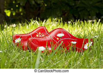 wooden shoes in the grass