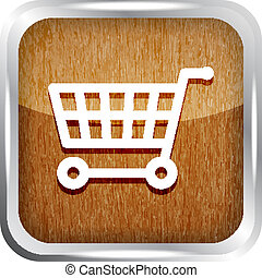 wooden shopping cart icon on white