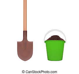 wooden shovel and green plastic bucket with soil isolated on white background