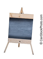 Wooden sidewalk sign with blank black menu board isolated on white background.