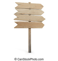 3D rendering of a wooden directional sign