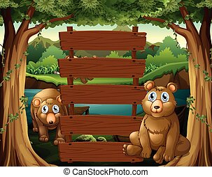 Wooden sign and bears in the woods
