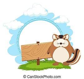 Wooden sign and chipmunk illustration