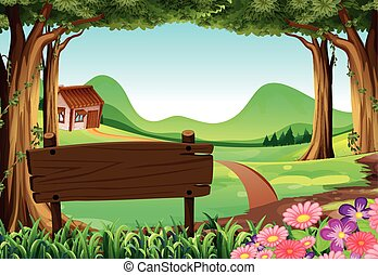 Wooden sign and countryside scene background