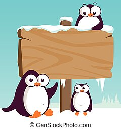 Wooden sign and penguins in the snow. Vector illustration