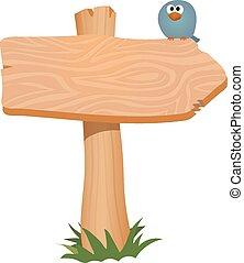 Wooden sign, arrow. Vector illustration. - Wooden sign arrow...