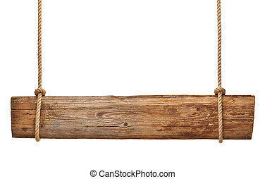 wooden sign background message rope hanging - close up of an...