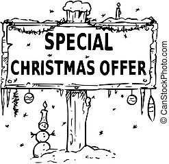 Wooden Sign Board Drawing with Special Christmas Offer Text