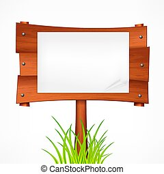 Wooden sign board on a stick. Vector illustration.