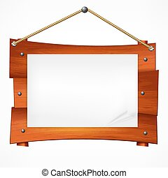 Wooden sign board on rope. Vector illustration.