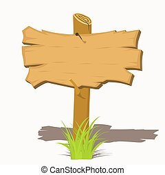 Wooden sign boards on a grass. Vector Illustration isolated...