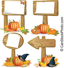Wooden sign boards Thanksgiving - Wooden signs of various...