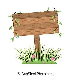 wooden sign cartoon