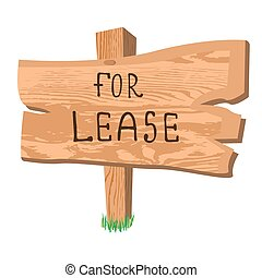 wooden sign for lease, vector illustration