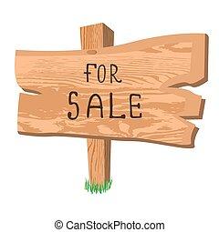 wooden sign for sale, vector illustration