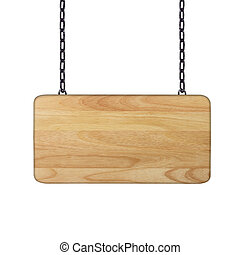 Wooden sign hanging on a chain isol