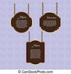 wooden sign hanging over violet background. vector...