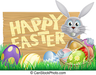 Wooden sign Happy Easter bunny