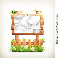 Wooden sign in grass, vector