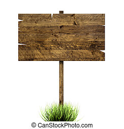 Wooden sign in green grass - A wooden sign in green grass ...