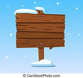 Wooden sign in snow. Christmas winter holidays signpost. Cartoon wood vector sign
