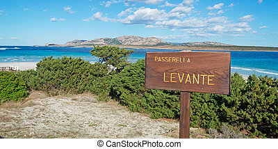 wooden sign in Stintino